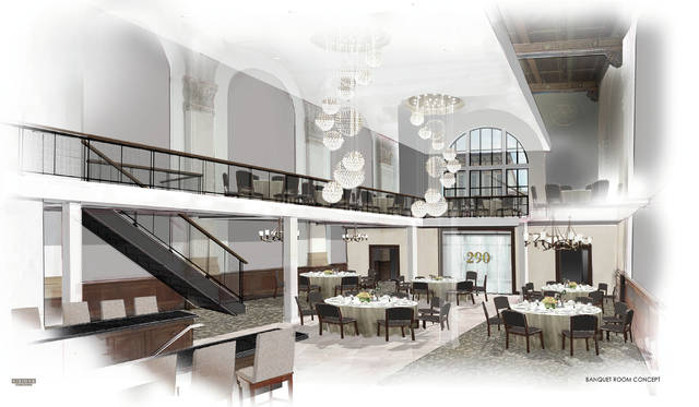 An artist rendering depicts what the inside of Lock Box 290, the former U.S. Bank in downtown Troy, will look like once renovations are complete. The event venue plans to open in spring 2020.