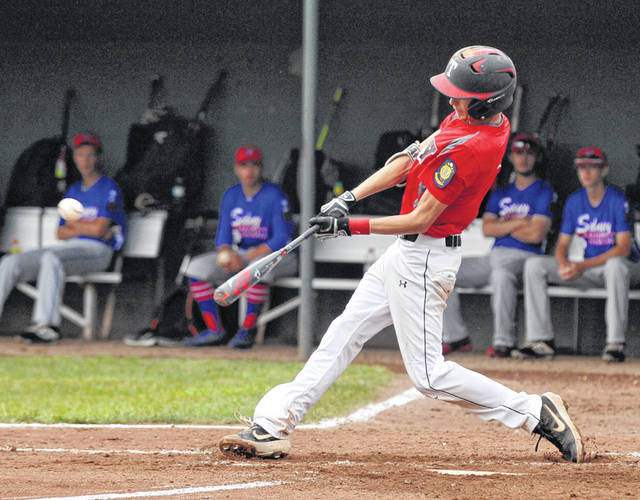 Josh Brown|Miami Valley Today Troy Post 43's Austin Kendall hits a single during Monday's winner's bracket final against Sidney Post 217 in the American Legion Region 2 tournament at Duke Park.