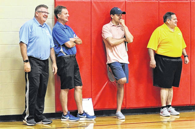 Gaylen Blosser | DarkeCountyMedia.com OHSAA varsity officials observe basketball referees at training camp. (L-R) Kevin Forrer, Chuck Docken, Mason Siler and Chet Roberts.