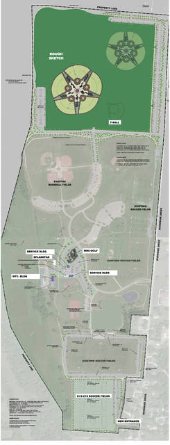 Provided map of Duke Park and its proposed $12 million in park improvements requested by Mayor Michael Beamish. Funding include $5 million from the city's general fund, $3 million in bond financing and $4 million from a proposed 1.2-mill, 10-year property tax levy on the November ballot.