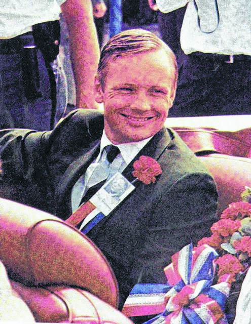 Neil Armstrong participates in a homecoming parade in Wapakoneta in 1969.