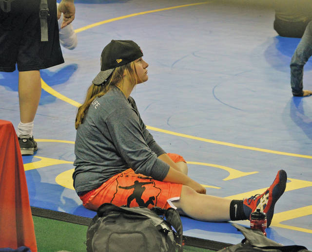 Provided photo Troy's Cheyenne Meade waits for her match to start during the USA Wrestling 16u Women's Freestyle National Championships wrestling tournament this summer in Fargo, ND.