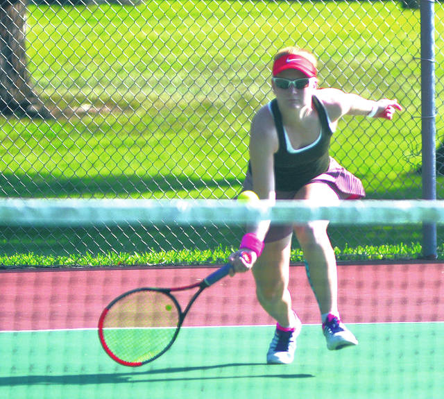 Rob Kiser|Miami Valley Today Kit Wolke goes after a drop shot in the Frydell Junior Tennis Tournament Wednesday at Troy City Park.