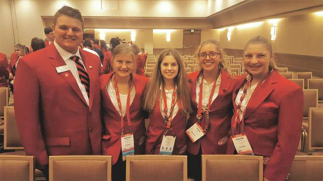 Newton High School FCCLA students attended a national conference in California this summer, earning a gold rating and fifth in the nation for their presentation. Pictured left to right, Luke Vannus, Morgan Robbins, Regina Mikalauskas, Jaden Stine and Arianna Vannus.