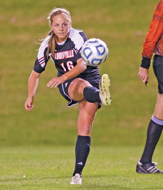 Photo courtesy of University of Louisville Erin Yenney, seen here playing for the University of Louisville, will be inducted into the Troy Athletics Hall of Fame.