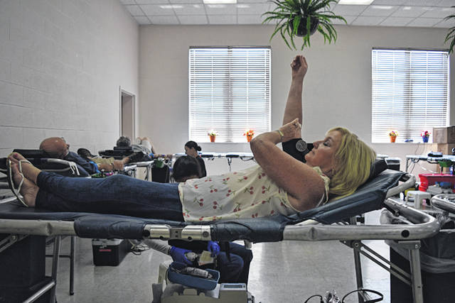 Provided photo Donor Leona Henderson at the eighth annual blood drive in memory of educator Ed Lendenski.<strong></strong>