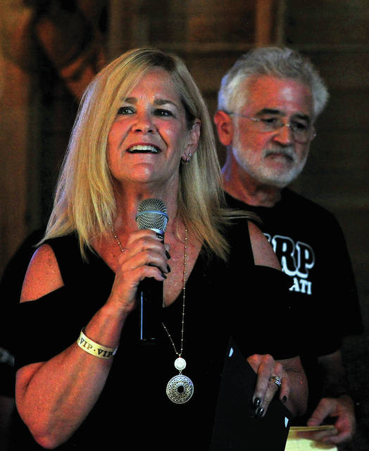 Piqua Mayor Kazy Hinds welcomes guests to the octagonal barn at the Orrmont Estate for Rockin' it back, Payin' it forward, a fundraiser event headlined by Piqua alum Fond Kiser and Friends to raise money for the Piqua High School Music Department. The event took play last Saturday…