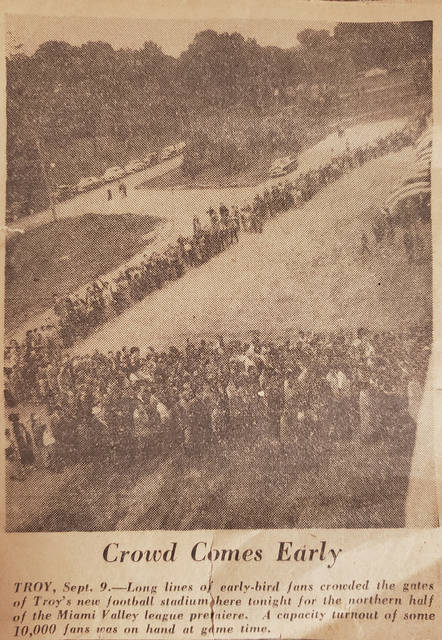 "Provided photo An old newspaper clipping provided by Russell ""Bussie"" Favorite detailing the massive crowd that packed Troy Memorial Stadium the night it opened 70 years ago."
