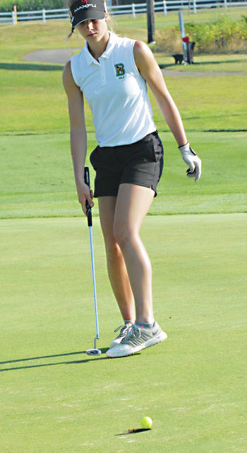 Rob Kiser|Miami Valley Today Bethel's Kenna Gray watches her putt roll over the hole on the third green Monday.