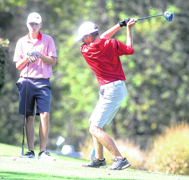 Lee Woolery|Miami Valley Today Tippecanoe's Nathan Gagnon tees off during a match against Troy Monday at Troy Country Club.