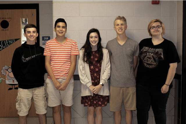 The following Miami East High School students were named to the 020 Ohio Music Educators Association's All-State Choir: from left to right, Zach Enz, Caleb Lozano, Nichole Hood, Tyler Fetters and Rebecca Patch.