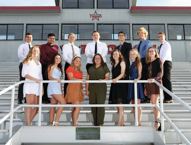Courtesy of Lee Woolery The Troy High School has named the 2019 Homecoming Court. Queen court nominees (from left to right) include Hannah Hennessy, Jenna Stockslager, Ella Furlong, Victoria Solomon, Brooke Stockslager, Samantha Mascarella, and MariCait Gillespie. King court nominees (from left to right) include Quenton Shepherd, Tito Fuentes, Jackson Goodall, Mitchell Simon, Dale Sentman, Logan C. Rolon-Pawlaczyk, Connor Bell.