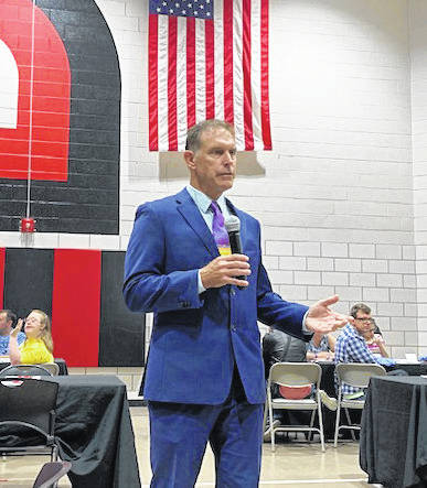 Director of the Ohio Department of Developmental Disabilities Jeff Davis addresses the crowd on Friday during the 2019 Regional Advocacy Conference at the Miami County Board of Developmental Disabilities (Riverside).