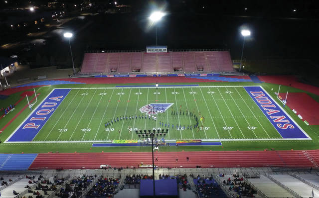 The Edgewood High School Marching Band performs during the 2019 Piqua Marching Band Invitational on Saturday evening at Alexander Stadium/Purk Field..