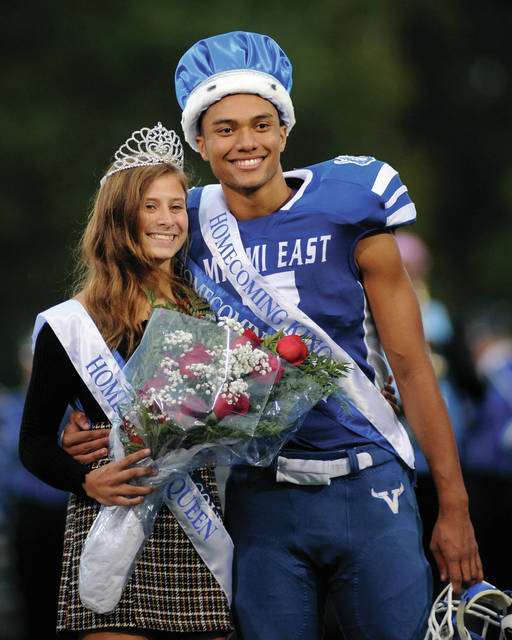 Miami East Homecoming Queen Gabrielle Hawkins and King Aaron Lawrence were crwoned during pre-game ceremonies on Friday