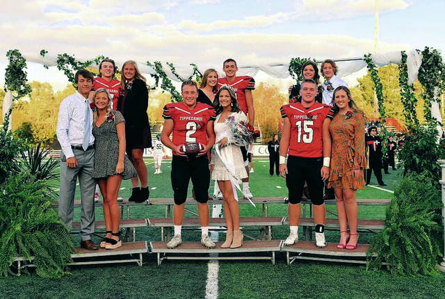Provided photo The Tippecanoe High School Homecoming football game was held Friday, Oct. 4, when this year's king and queen were named from the court. The Homcoming dance was held Saturday, Oct. 5. Front row, left to right, and all senior, Eli Hadden and Kendall Clodfelter, king Cade Beam and queen Emily Graham, Nik Weethee and Teagan Cyphers. Back row Juniors Nick Shirley and Ashlyn Tarzinski, sophomores Kelsey McClurg and Griffin Caldwell, and freshmen Taylor Dietz and Jackson Kleather.