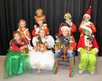 Prince and Princess contest winners were (seated) Anna Rank, first runner-up; Harper Moore, princess and costume; Evan Addis, prince and costume; Johnathan Stewart, first runner-up and second place float; (back row) Brileigh Diehl, float winner; Zoe Hudelson, second runner-up; Zachary Shimp, second runner-up; and Amber Neitzelt, third place float.