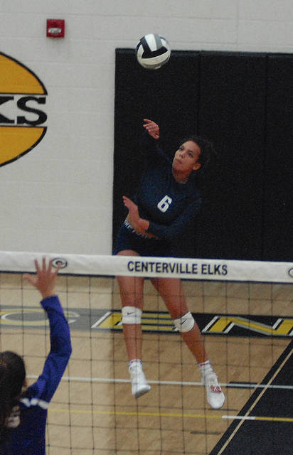 Rob Kiser|Miami Valley Today Tylah Yeomans goes up for a school record 926th career kill in the third set Tuesday in Centerville D-I sectional action against Vandalia-Butler. Yeomans finished with 931 kills.