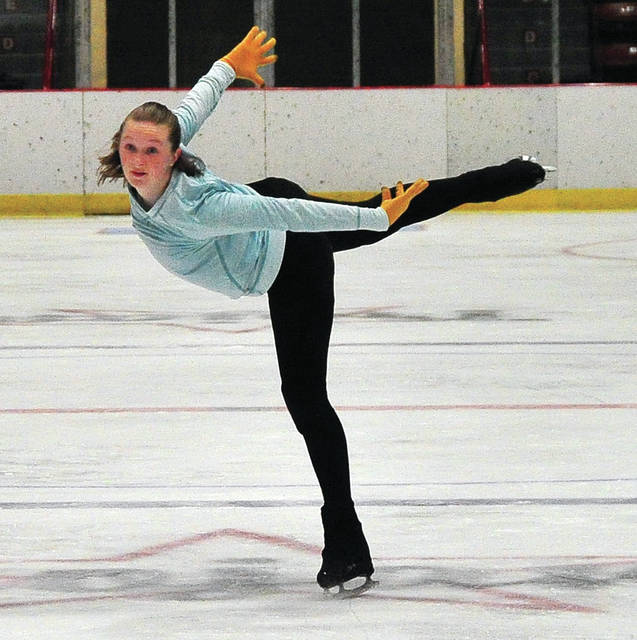 Lilly Beccue, 13, of Troy works on her routine during Troy Skating Club practice at Hobart Arena on Thursday afternoon. The club is rehearing for the upcoming Holiday Ice Show to be held on December 1 beginning at 4:30 p,.m. The event is free and open to the public.
