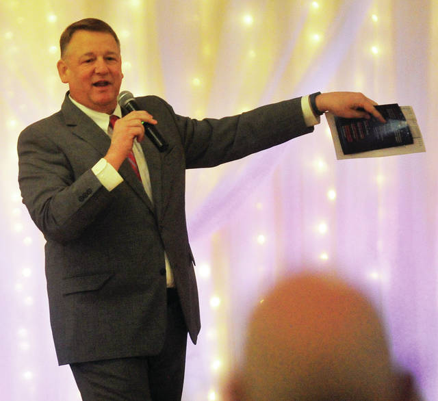 """Former Miami County Commissioner John """"Bud"""" O'Brien was Master of Ceremonies for Saturday's """"Dancing With the Miami Valley Stars"""" at Romer's Catering in Piqua."""