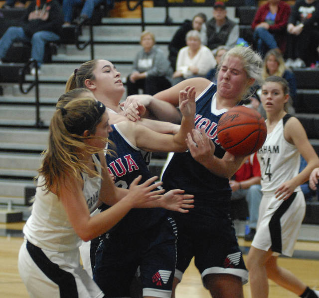 Rob Kiser|Miami Valley Today Piqua's Aubree Schrubb battles for a rebound against Graham Tuesday night.