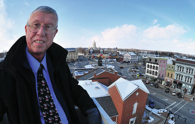 Mayor Mike Beamish stands on top of Troy Tower 1 and overlooks the city that he has served as mayor for the past 16 years.