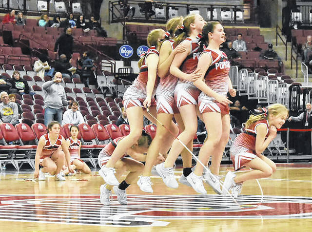 Provided photo  Members of last year's Troy Pop Rocks team perform at the 2019 Ohio High School Athletic Association girls state basketball tournament.