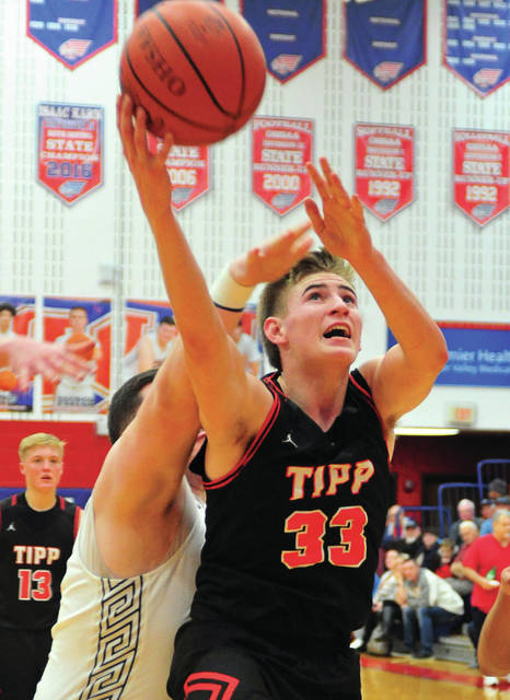 Tippecanoe's Zach Frederick goes up for two points Friday night against Piqua at Garbry Gymnasium.