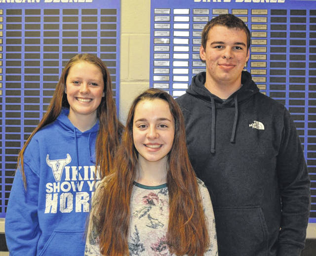 From left to right, Lauren Wright, Emma Sutherly and Samuel Sutherly.