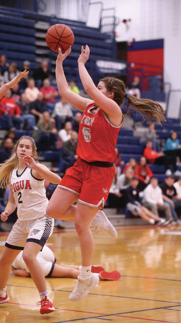 Lee Woolery | Miami Valley Today Troy's Macie Taylor hits a short jumper against Piqua Saturday at Piqua High School.