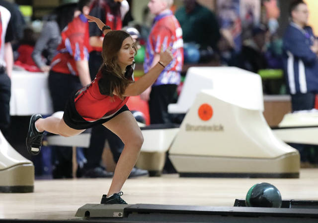 Lee Woolery | Miami Valley Today Troy's Kayleigh McMullen bowls against Piqua Tuesday at Brel-Aire Lanes in Piqua.