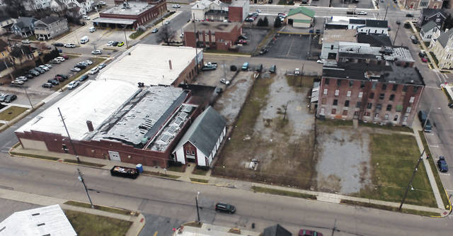 An aerial photo shows where the new Troy Fire Department Station No. 1 will be located. Council approved to spend $600,000 for KZF Design of Cincinnati to design the new facility that is estimated to cost $5-6 million.
