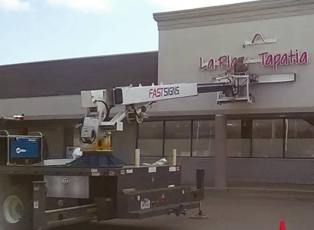 Matt Clevenger | For Miami Valley Today The new La Plaza Tapatia International Fresh Market, formerly Foodtown, in Tipp City, recently got a new sign, prior to its planned spring opening.