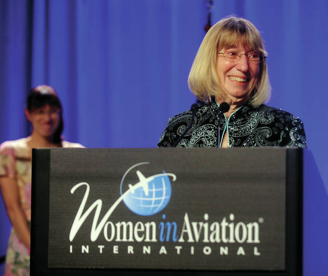 West Milton resident Patty Wagner speaks during her induction into the Women in Aviation International Pioneer Hall of Fame on March 7, in Orlando, FL.