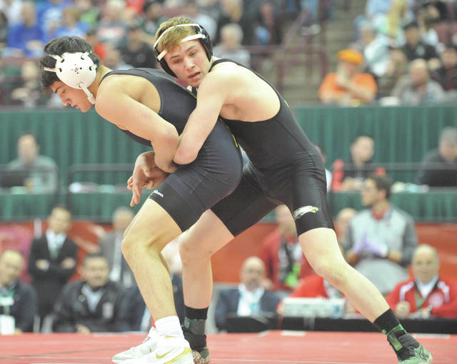 Josh Brown | Miami Valley Today file Troy Christian's Ethan Turner wrestles in championship match at the 2019 OHSAA state wrestling tournament at the Schottenstein Center.