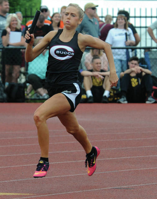 Mike Ullery|MVT File Photo Former Covington standout Rayna Horner, who won a state championship in the 1,600-meter relay, is coming off a MAC championship in the Distance Medley Relay for Toledo.