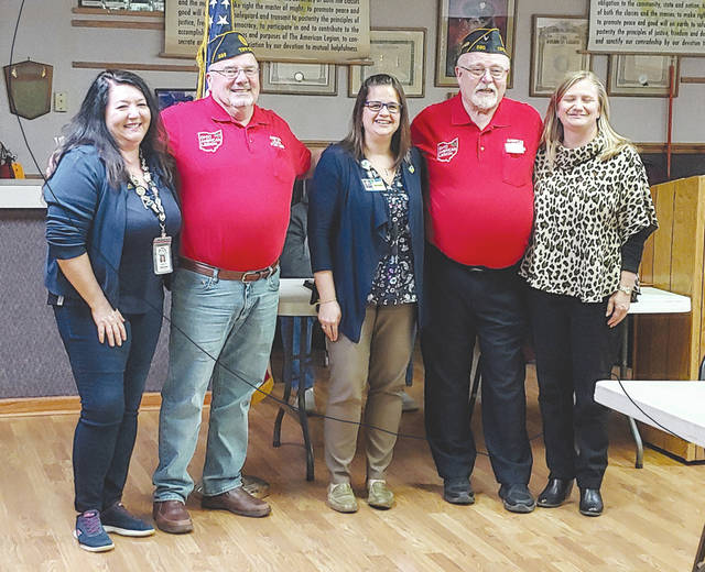 Provided photo The Tipp City American Legion Post No. 586 presented $7,000 in charitable donations to local charities. From left to right: Mia Walthers representing USO of Dayton; Harlan Purves representing Legion Post 586 scholarships; Heather Bolton representing Ohio's Hospice of Miami County; Robert Steggemann representing American Legion Gifts For Yanks Program; and Susan Hemm representing Ohio's Hospice of Miami County.