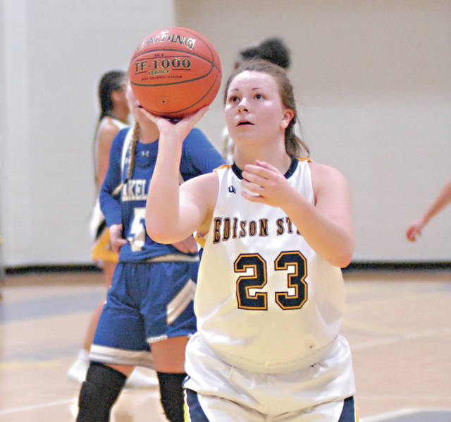 Rob Kiser MVT File Photo Edison State's Allison Siefring lines up a free throw earlier this season.