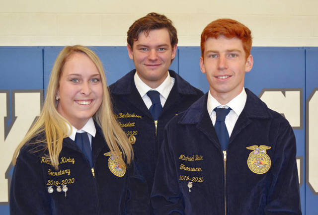 Provided photo The May Miami East-MVCTC FFA Members of the Month are Michael Bair, Ethin Bendickson and Kearsten Kirby. They are all retired chapter officers and will soon be graduates of Miami East High School.