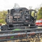 Combine destroyed by fire