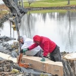 Retaining wall, handicap-accessible park project underway