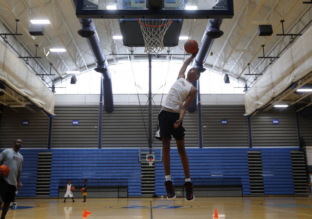 Emoni Bates, during basketball practice in Ypsilanti, Mich., Wednesday, July 12, 2017. Bates is the best 13-year-old basketball player in America, according to some recruiting services. One of his highlight reels on YouTube has been viewed about 1 million times.  (AP Photo/Paul Sancya)