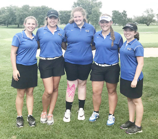 The Clinton-Massie girls golf team that finished fourth in the Division II sectional golf tournament at Hamilton Elks Golf Course was, from left to right, Abby Schneider, Taylor Kropp, Mackynzi Vonderhaar, Gabby Woods and Pearl Spurlock.