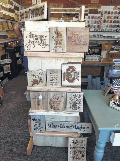 Crates, Etc, located on East Sugartree Street in Wilmington, features handmade wooden engraved signs. It also carries a variety of crates, home decor, homemade candles and tarts, and more.