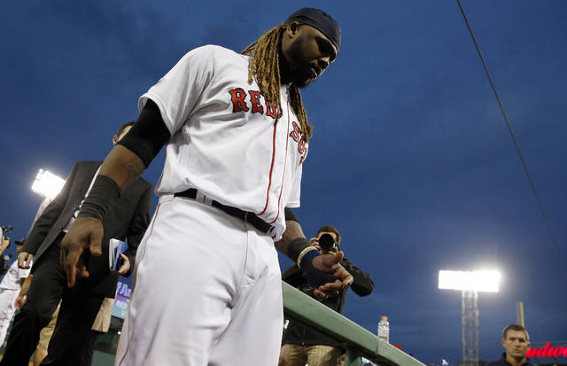 Boston Red Sox designated hitter Hanley Ramirez leaves the field after the Red Sox's 10-3 win over the Houston Astros in Game 3 of baseball's American League Division Series, Sunday, Oct. 8, 2017, in Boston. (AP Photo/Michael Dwyer)