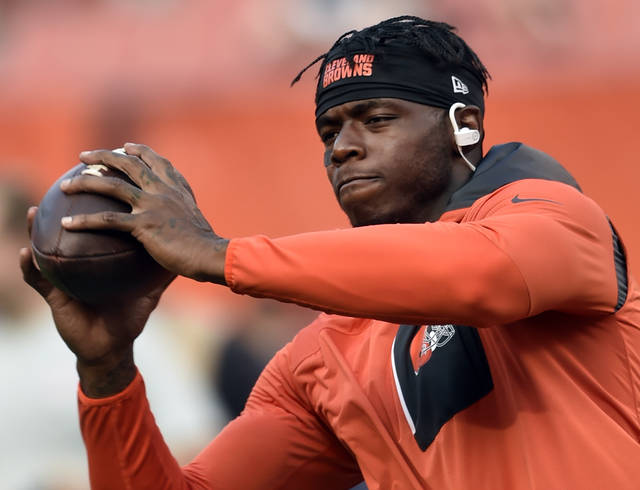 """FILE - In this Sept. 1, 2016, file photo, Cleveland Browns wide receiver Josh Gordon warms up before an NFL preseason football game against the Chicago Bears in Cleveland. Revealing he was """"scared for my life,"""" suspended Browns wide receiver Josh Gordon is making his case to be reinstated by the NFL. Gordon, who was indefinitely suspended by the league before the 2015 season following another violation of the league's substance-abuse policy, detailed his life-long drug abuse, the depths of his addiction and determination to turn his life around in a video released Tuesday, Oct. 10, 2017,  on """"Uninterrupted,"""" a media platform for athletes produced by NBA star LeBron James. (AP Photo/David Richard,  File)"""