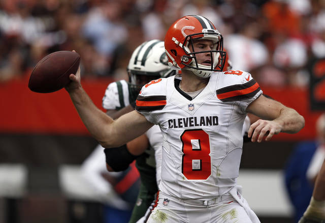 Cleveland Browns quarterback Kevin Hogan passes during the second half of an NFL football game against the New York Jets, Sunday, Oct. 8, 2017, in Cleveland. (AP Photo/Ron Schwane)