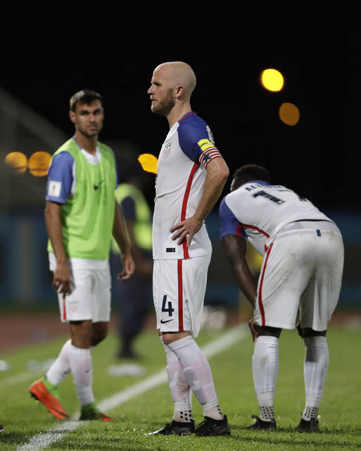 United States' Michael Bradley, reacts after losing 2-1 against Trinidad and Tobago during a 2018 World Cup qualifying soccer match in Couva, Trinidad, Tuesday, Oct. 10, 2017. (AP Photo/Rebecca Blackwell)