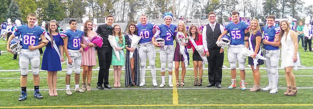 Hailey Stinchcomb was crowned Queen and Luke Richardson was crowned King Friday at the Clinton-Massie Homecoming festivities. In the photo, from left to right, Joe Baughman, Leah Burton, Deniz Yilmaz, Abbey Faucett, Andrew Garrett, Lauren Ellis, Kylee Huffman, Trey Uetrecht, King Richardson, Queen Stinchcomb, Baylei Stockman, Colton New, Sam Brothers, Ashlie Miller, Braxton Green and Hannah Doss.