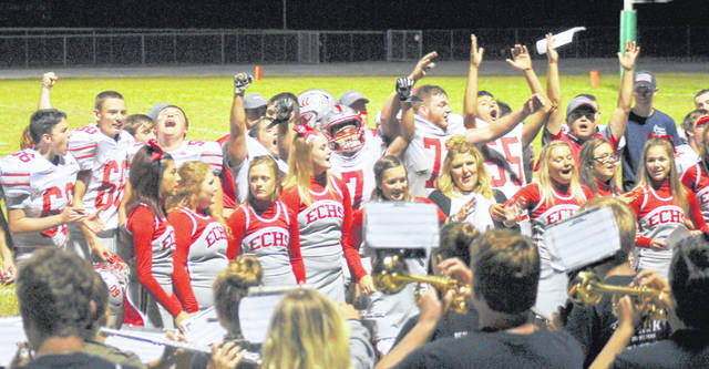 East Clinton celebrates a win over Fayetteville-Perry in Week 7.